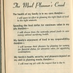 Crappy old stuff: The Meal Planner's Creed